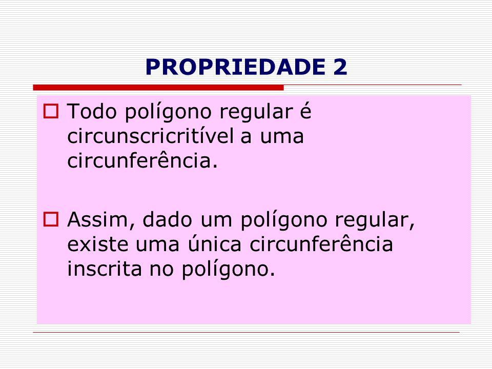 PROPRIEDADE 2  Todo polígono regular é circunscricritível a uma circunferência.  Assim, dado um polígono regular, existe uma única circunferência in