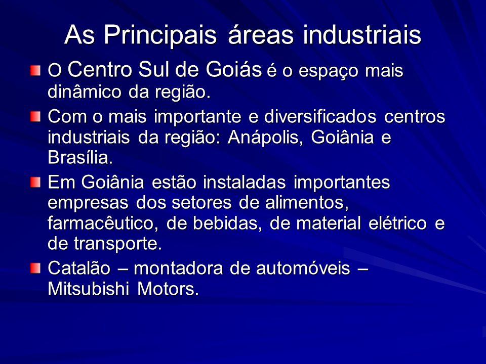 As Principais áreas industriais O Centro Sul de Goiás é o espaço mais dinâmico da região.