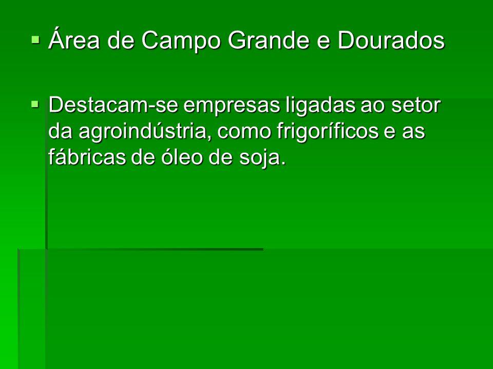  Área de Campo Grande e Dourados  Destacam-se empresas ligadas ao setor da agroindústria, como frigoríficos e as fábricas de óleo de soja.