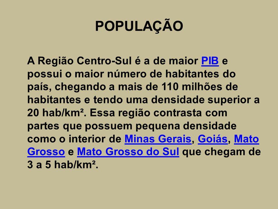POPULAÇÃO A Região Centro-Sul é a de maior PIB e possui o maior número de habitantes do país, chegando a mais de 110 milhões de habitantes e tendo uma densidade superior a 20 hab/km².