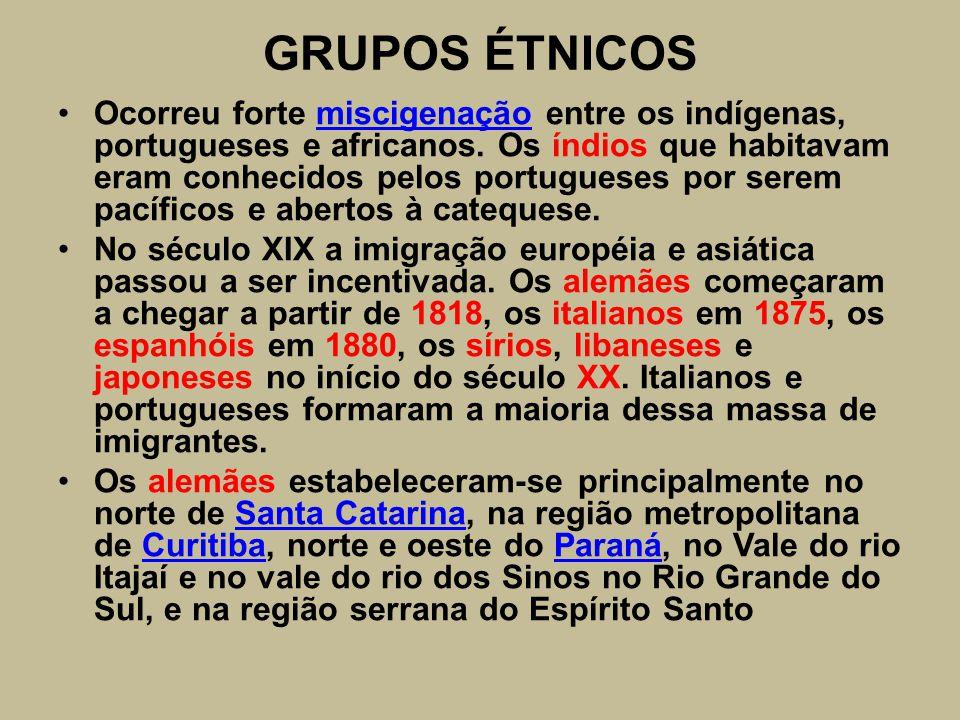 GRUPOS ÉTNICOS Ocorreu forte miscigenação entre os indígenas, portugueses e africanos. Os índios que habitavam eram conhecidos pelos portugueses por s