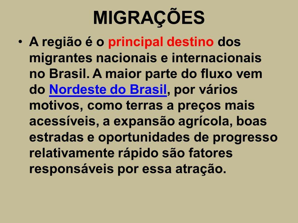 MIGRAÇÕES A região é o principal destino dos migrantes nacionais e internacionais no Brasil. A maior parte do fluxo vem do Nordeste do Brasil, por vár