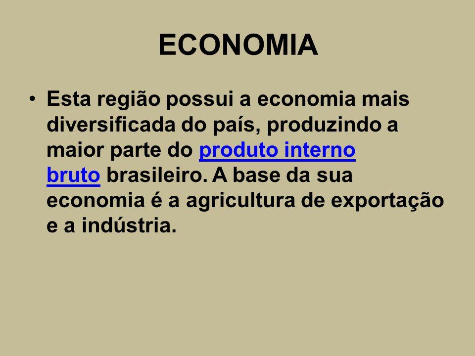 ECONOMIA Esta região possui a economia mais diversificada do país, produzindo a maior parte do produto interno bruto brasileiro. A base da sua economi