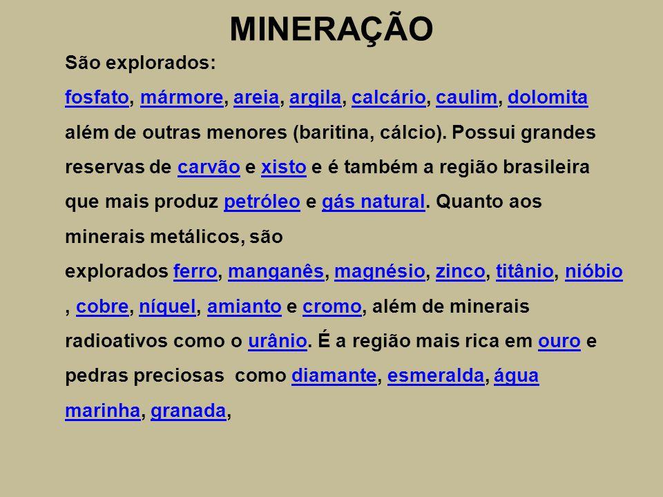 MINERAÇÃO São explorados: fosfato, mármore, areia, argila, calcário, caulim, dolomita além de outras menores (baritina, cálcio).