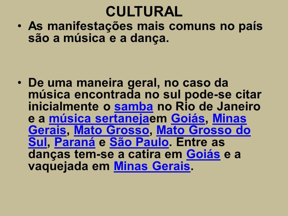 CULTURAL As manifestações mais comuns no país são a música e a dança. De uma maneira geral, no caso da música encontrada no sul pode-se citar inicialm