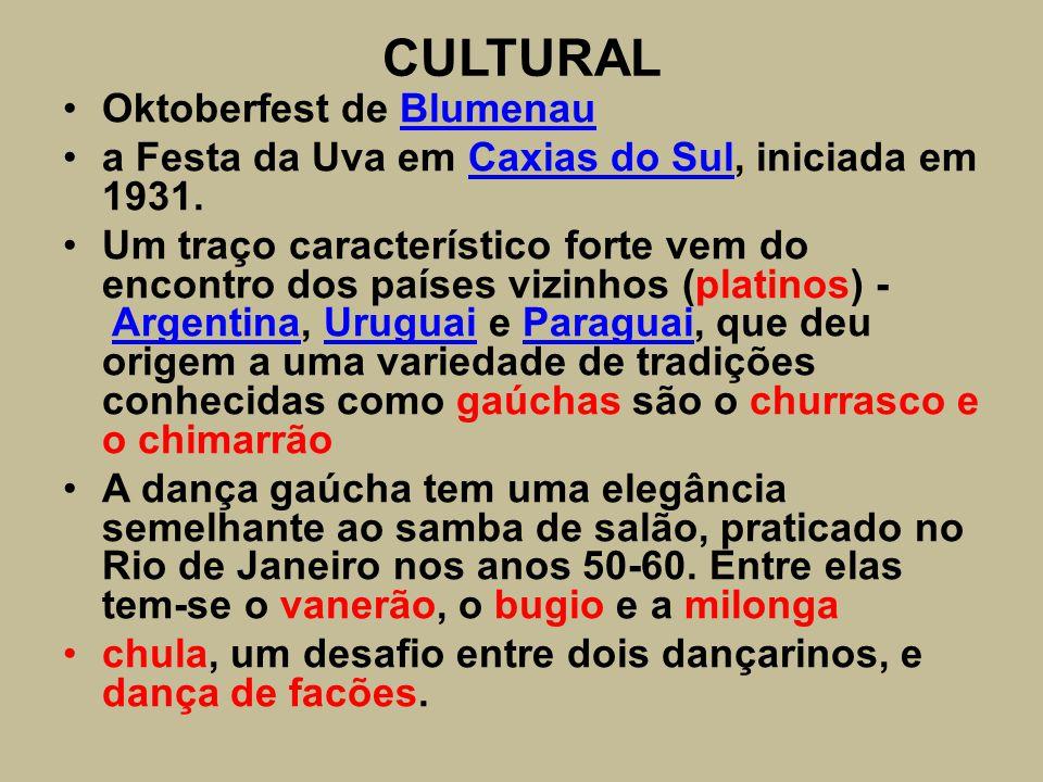 CULTURAL Oktoberfest de BlumenauBlumenau a Festa da Uva em Caxias do Sul, iniciada em 1931.Caxias do Sul Um traço característico forte vem do encontro
