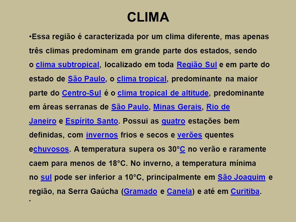 CLIMA Essa região é caracterizada por um clima diferente, mas apenas três climas predominam em grande parte dos estados, sendo o clima subtropical, localizado em toda Região Sul e em parte do estado de São Paulo, o clima tropical, predominante na maior parte do Centro-Sul é o clima tropical de altitude, predominante em áreas serranas de São Paulo, Minas Gerais, Rio de Janeiro e Espírito Santo.