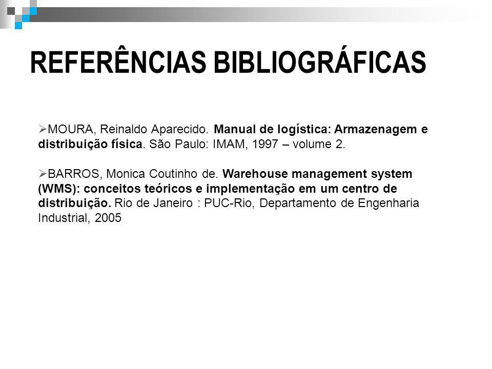 REFERÊNCIAS BIBLIOGRÁFICAS  MOURA, Reinaldo Aparecido. Manual de logística: Armazenagem e distribuição física. São Paulo: IMAM, 1997 – volume 2.  BA