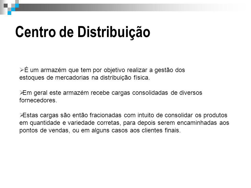 Centro de Distribuição  É um armazém que tem por objetivo realizar a gestão dos estoques de mercadorias na distribuição física.  Em geral este armaz