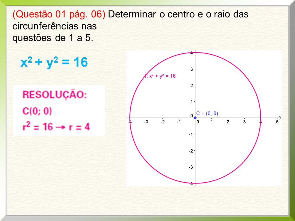 (Questão 01 pág. 06) Determinar o centro e o raio das circunferências nas questões de 1 a 5. x 2 + y 2 = 16