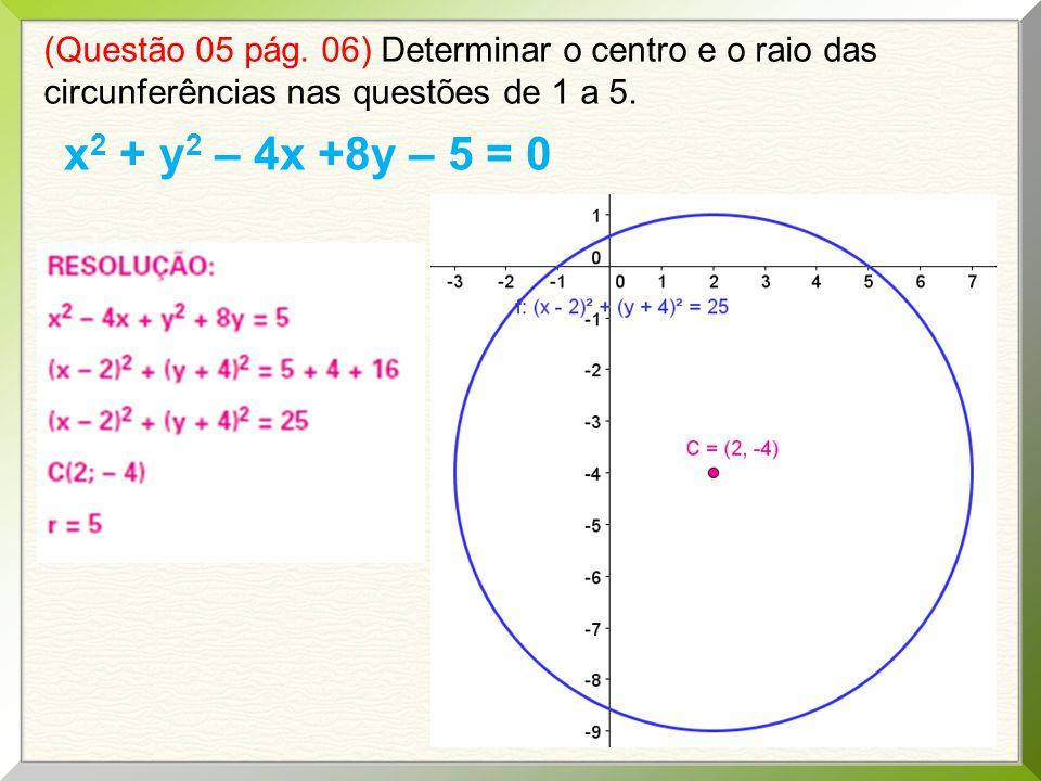 (Questão 05 pág. 06) Determinar o centro e o raio das circunferências nas questões de 1 a 5. x 2 + y 2 – 4x +8y – 5 = 0