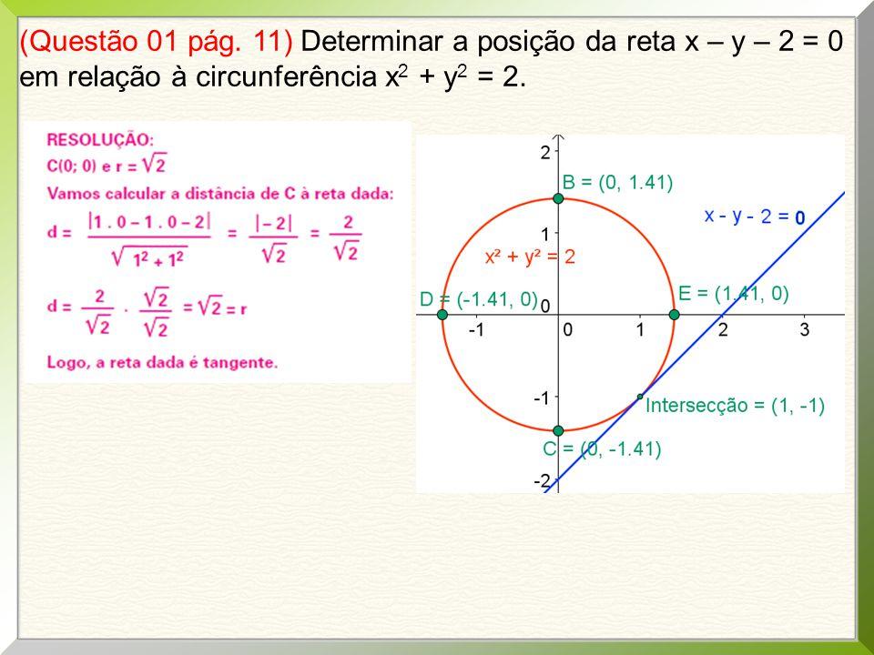 (Questão 01 pág. 11) Determinar a posição da reta x – y – 2 = 0 em relação à circunferência x 2 + y 2 = 2.
