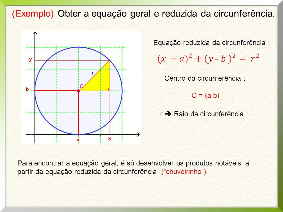 (Exemplo) Obter a equação geral e reduzida da circunferência. Equação reduzida da circunferência : Centro da circunferência : C = (a,b) r  Raio da ci