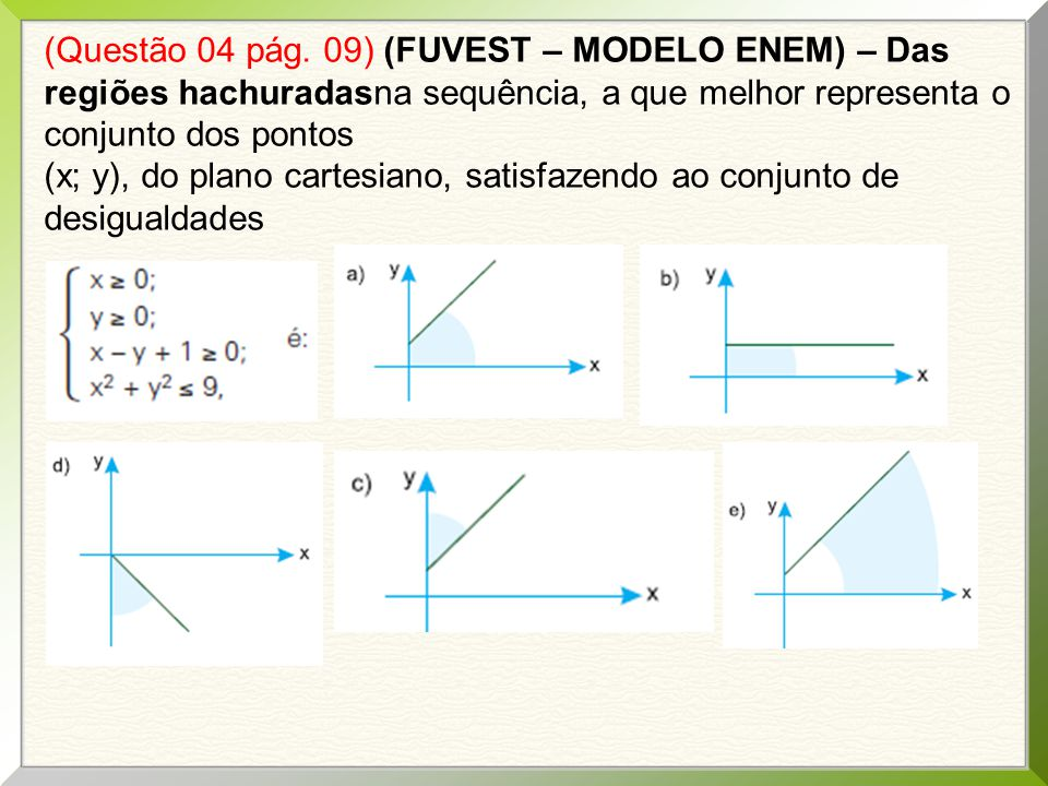(Questão 04 pág. 09) (FUVEST – MODELO ENEM) – Das regiões hachuradasna sequência, a que melhor representa o conjunto dos pontos (x; y), do plano carte