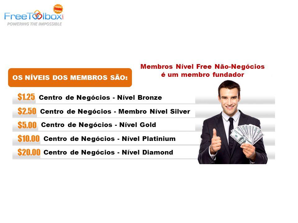 OS NÍVEIS DOS MEMBROS SÃO: Membros Nível Free Não-Negócios é um membro fundador Centro de Negócios - Nível Bronze Centro de Negócios - Membro Nível Silver Centro de Negócios - Nível Gold Centro de Negócios - Nível Platinium Centro de Negócios - Nível Diamond