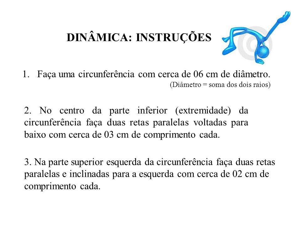 DINÂMICA: INSTRUÇÕES 1.Faça uma circunferência com cerca de 06 cm de diâmetro. (Diâmetro = soma dos dois raios) 2. No centro da parte inferior (extrem