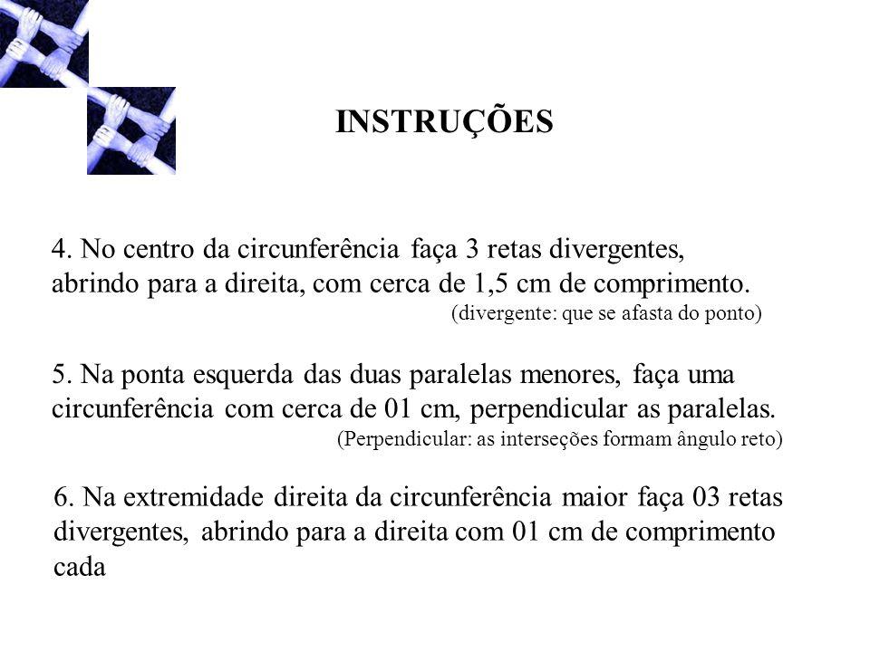 INSTRUÇÕES 4. No centro da circunferência faça 3 retas divergentes, abrindo para a direita, com cerca de 1,5 cm de comprimento. (divergente: que se af