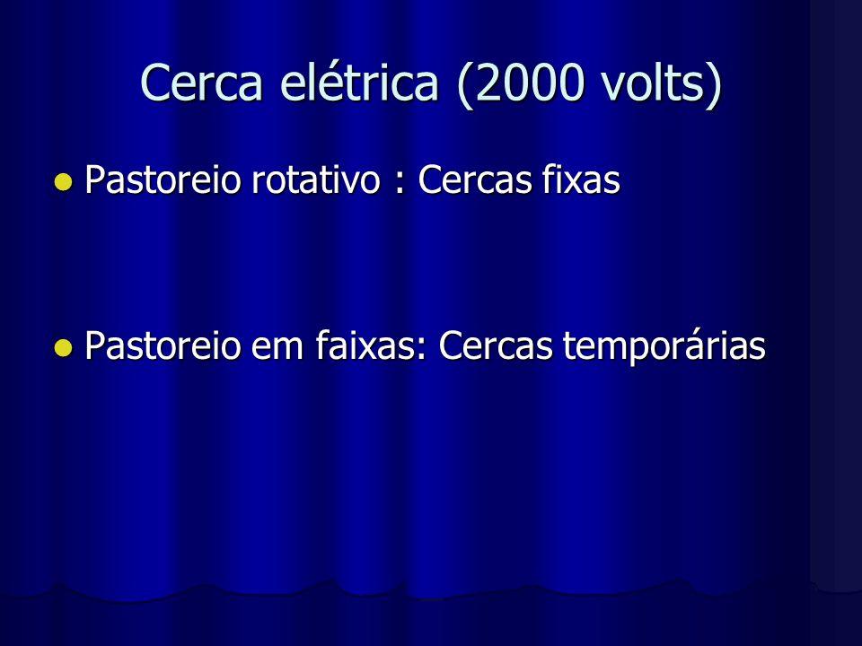 Cerca elétrica (2000 volts) Pastoreio rotativo : Cercas fixas Pastoreio rotativo : Cercas fixas Pastoreio em faixas: Cercas temporárias Pastoreio em f