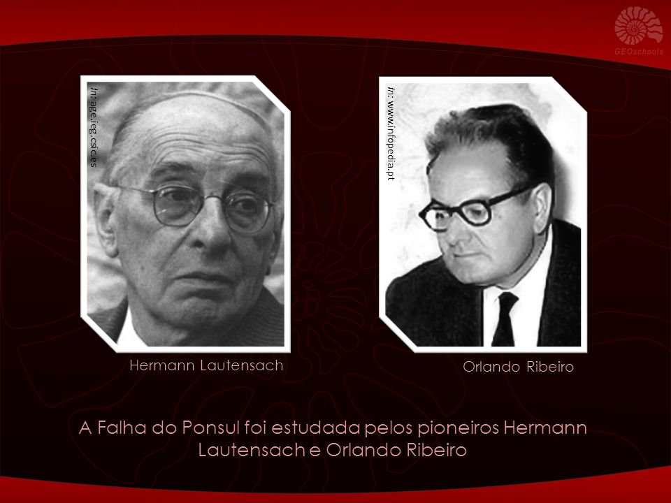 In: age.ieg.csic.es In: www.infopedia.pt A Falha do Ponsul foi estudada pelos pioneiros Hermann Lautensach e Orlando Ribeiro Orlando Ribeiro Hermann L