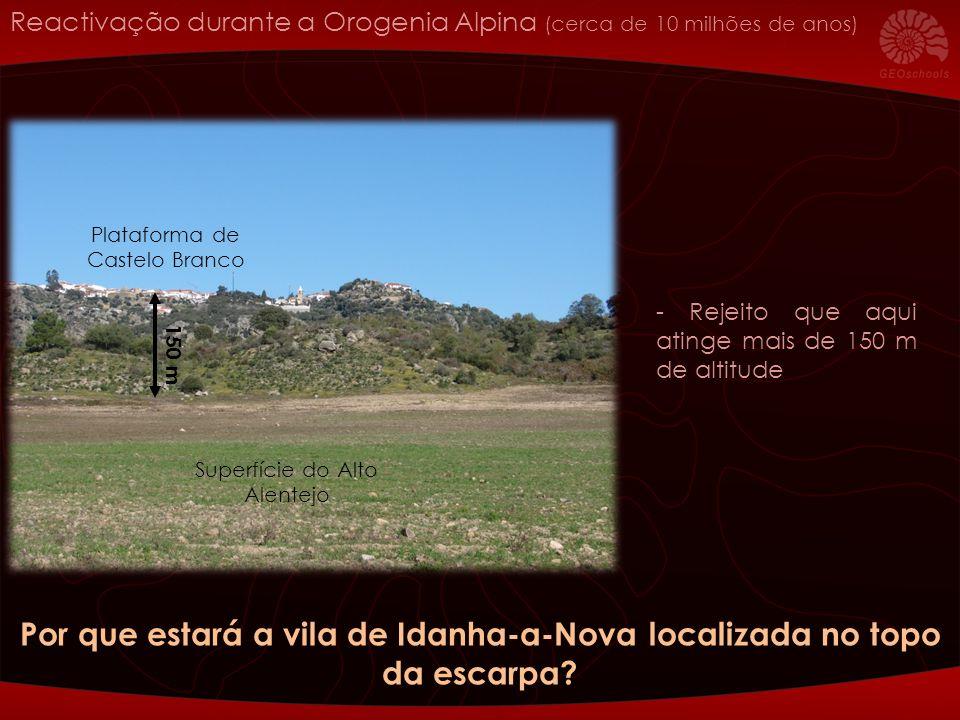 - Rejeito que aqui atinge mais de 150 m de altitude 150 m Superfície do Alto Alentejo Plataforma de Castelo Branco Por que estará a vila de Idanha-a-N