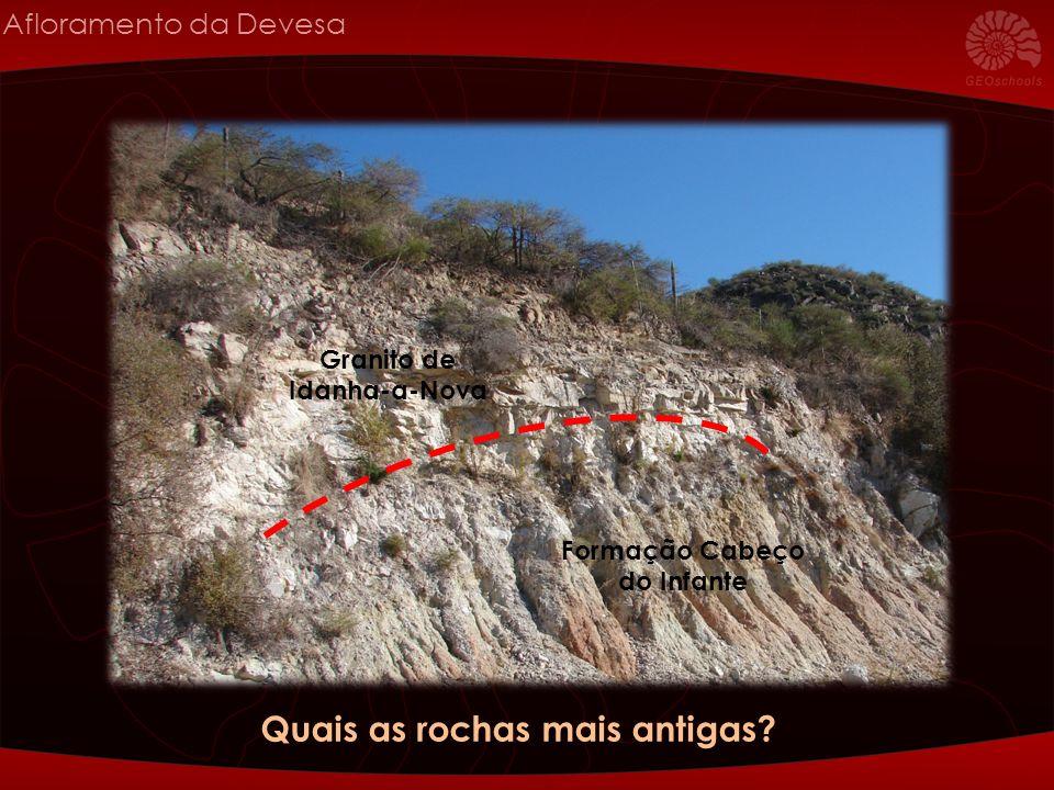 Afloramento da Devesa Granito de Idanha-a-Nova Formação Cabeço do Infante Quais as rochas mais antigas?