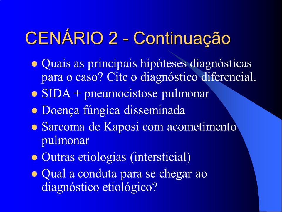 Quais as principais hipóteses diagnósticas para o caso? Cite o diagnóstico diferencial. SIDA + pneumocistose pulmonar Doença fúngica disseminada Sarco