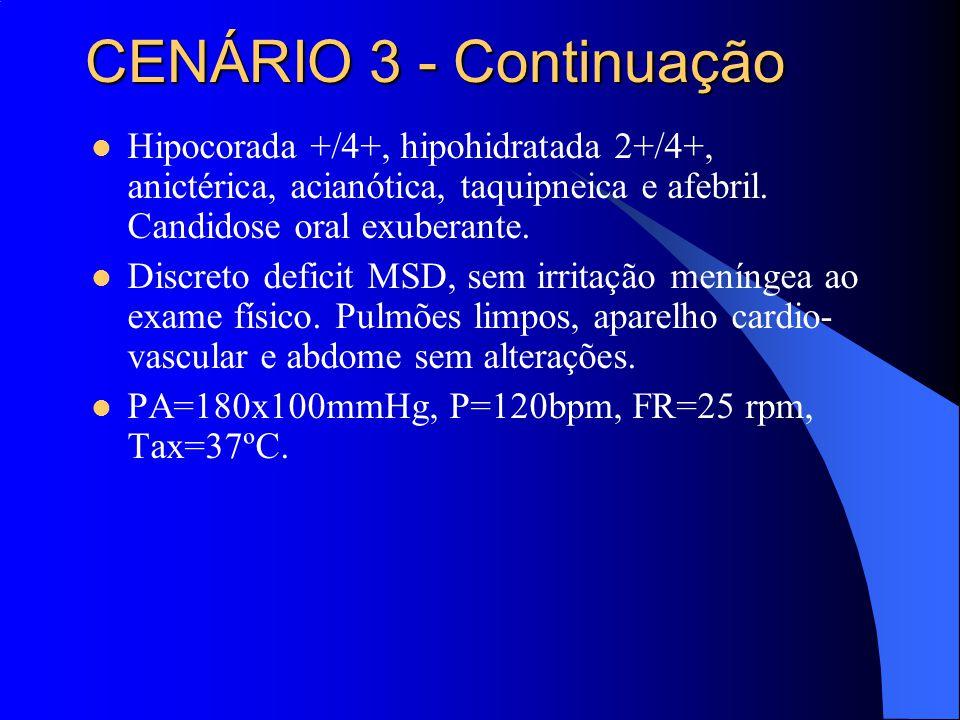 Hipocorada +/4+, hipohidratada 2+/4+, anictérica, acianótica, taquipneica e afebril. Candidose oral exuberante. Discreto deficit MSD, sem irritação me