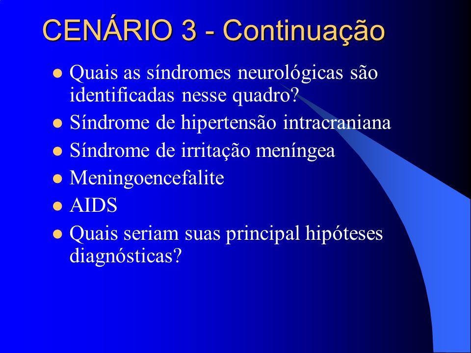 Quais as síndromes neurológicas são identificadas nesse quadro? Síndrome de hipertensão intracraniana Síndrome de irritação meníngea Meningoencefalite