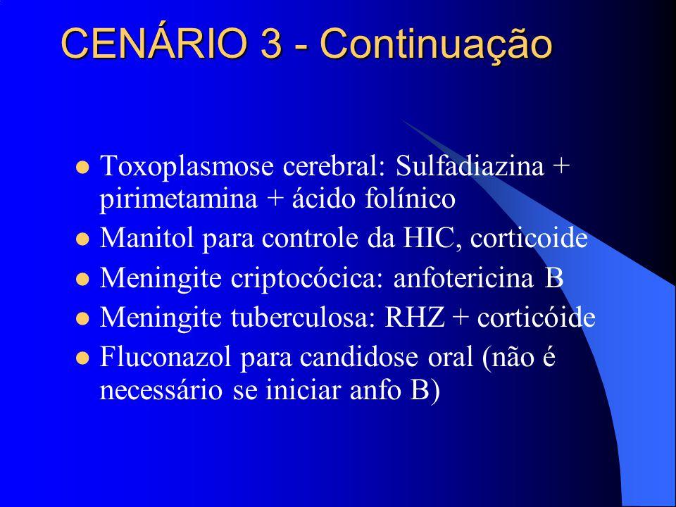 Toxoplasmose cerebral: Sulfadiazina + pirimetamina + ácido folínico Manitol para controle da HIC, corticoide Meningite criptocócica: anfotericina B Me