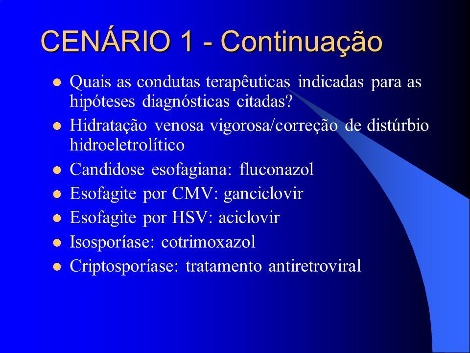 Quais as condutas terapêuticas indicadas para as hipóteses diagnósticas citadas? Hidratação venosa vigorosa/correção de distúrbio hidroeletrolítico Ca