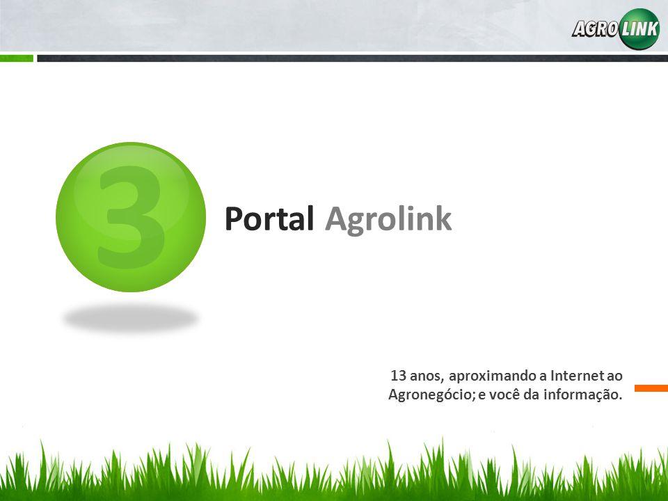 3 Portal Agrolink 13 anos, aproximando a Internet ao Agronegócio; e você da informação.