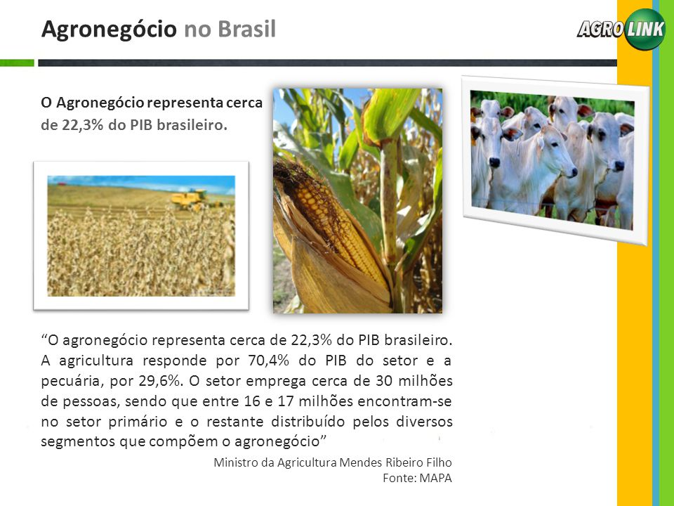 """Agronegócio no Brasil O Agronegócio representa cerca de 22,3% do PIB brasileiro. """"O agronegócio representa cerca de 22,3% do PIB brasileiro. A agricul"""