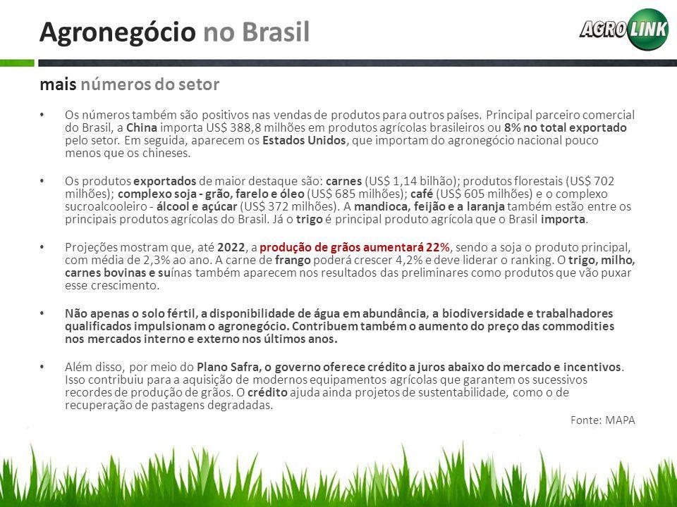 Agronegócio no Brasil Os números também são positivos nas vendas de produtos para outros países. Principal parceiro comercial do Brasil, a China impor