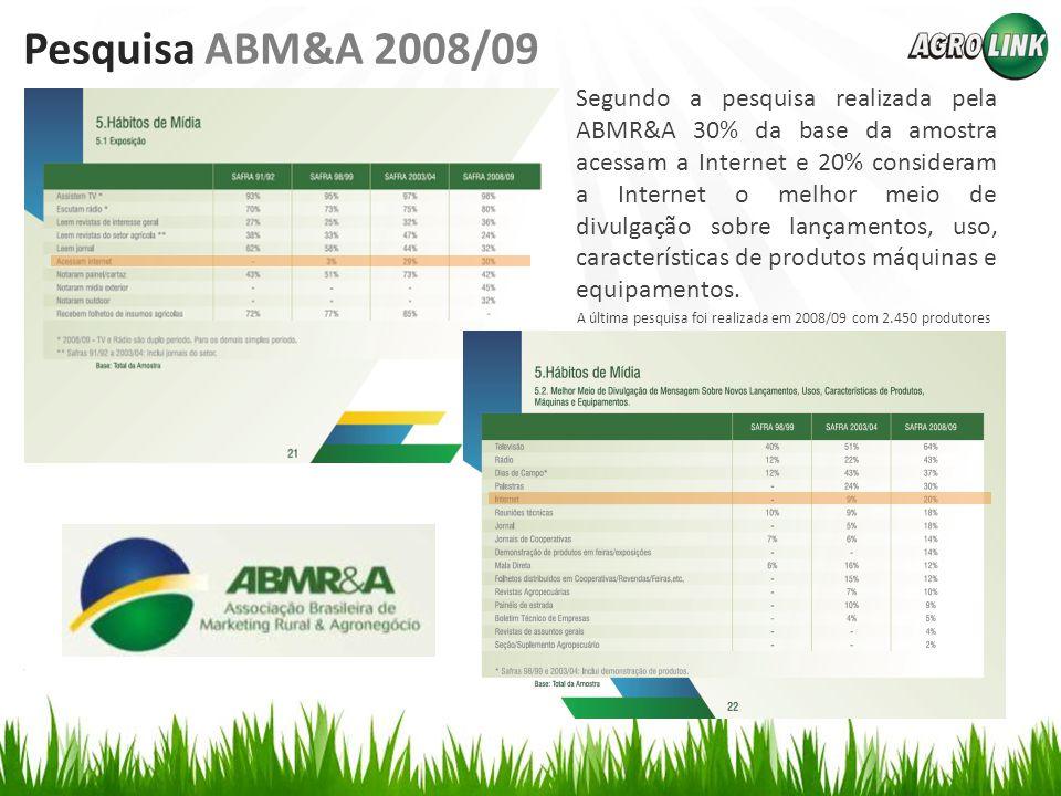 Pesquisa ABM&A 2008/09 Segundo a pesquisa realizada pela ABMR&A 30% da base da amostra acessam a Internet e 20% consideram a Internet o melhor meio de