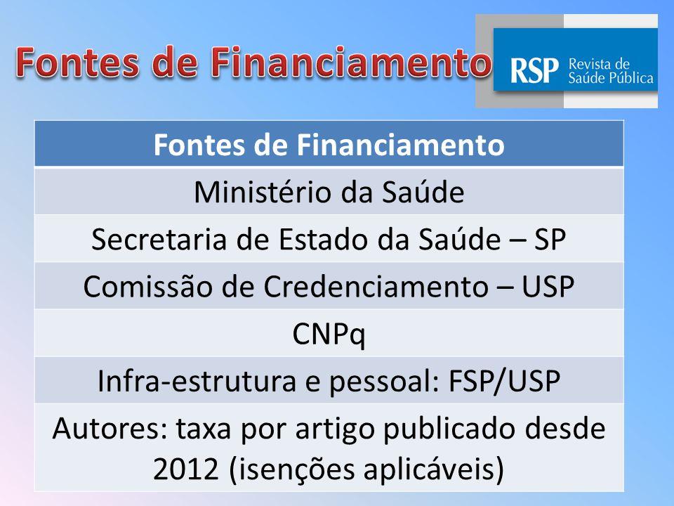 Fontes de Financiamento Ministério da Saúde Secretaria de Estado da Saúde – SP Comissão de Credenciamento – USP CNPq Infra-estrutura e pessoal: FSP/USP Autores: taxa por artigo publicado desde 2012 (isenções aplicáveis)