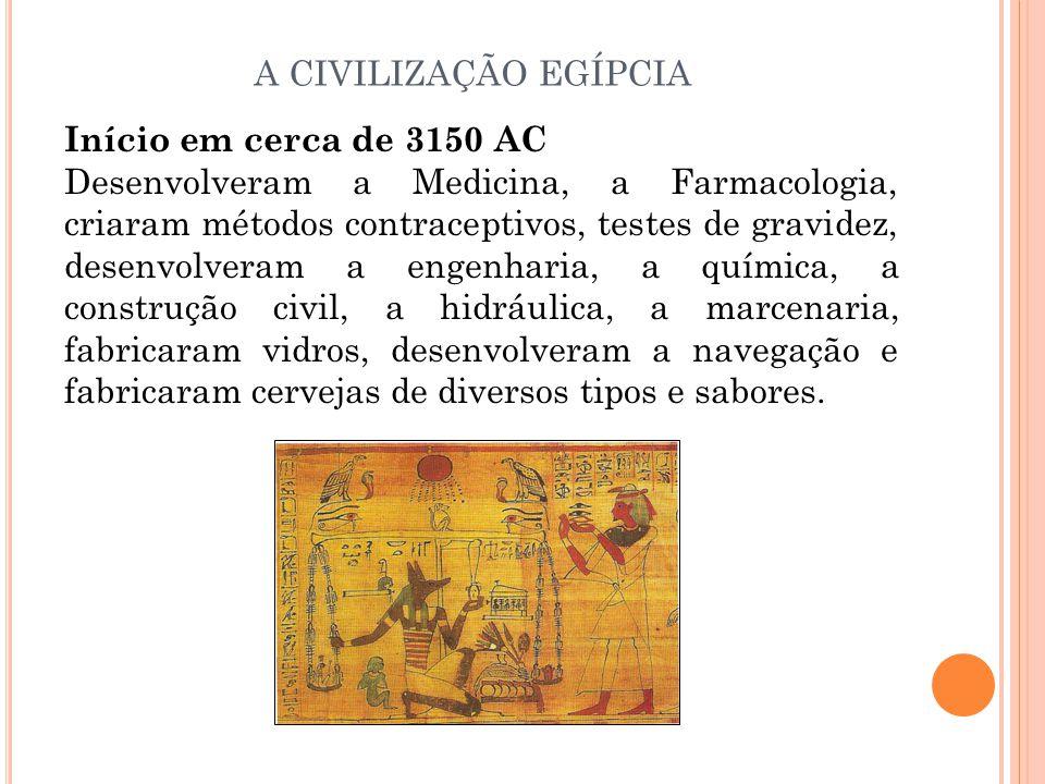 Início em cerca de 3150 AC Desenvolveram a Medicina, a Farmacologia, criaram métodos contraceptivos, testes de gravidez, desenvolveram a engenharia, a