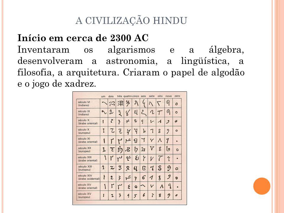 Início em cerca de 2300 AC Inventaram os algarismos e a álgebra, desenvolveram a astronomia, a lingüística, a filosofia, a arquitetura. Criaram o pape