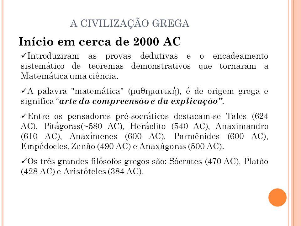 Início em cerca de 2000 AC Introduziram as provas dedutivas e o encadeamento sistemático de teoremas demonstrativos que tornaram a Matemática uma ciên