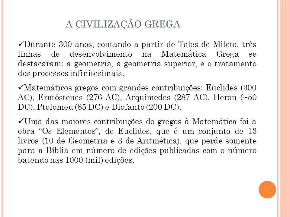 Durante 300 anos, contando a partir de Tales de Mileto, três linhas de desenvolvimento na Matemática Grega se destacaram: a geometria, a geometria superior, e o tratamento dos processos infinitesimais.
