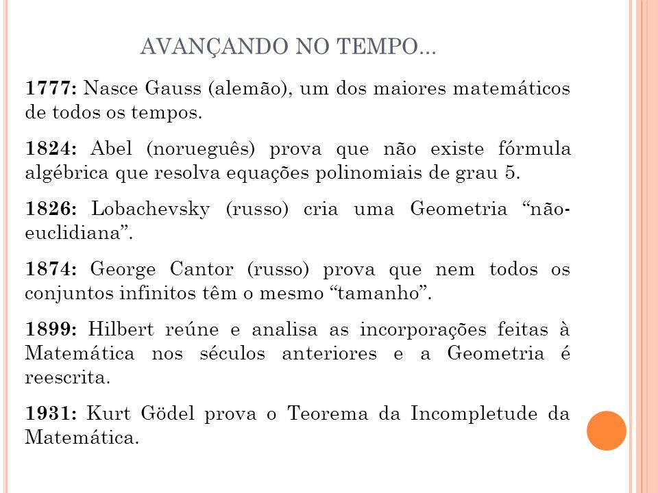 1777: Nasce Gauss (alemão), um dos maiores matemáticos de todos os tempos. 1824: Abel (norueguês) prova que não existe fórmula algébrica que resolva e