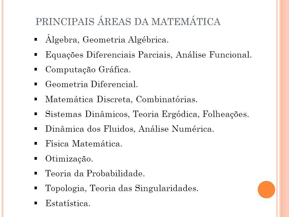  Álgebra, Geometria Algébrica.  Equações Diferenciais Parciais, Análise Funcional.  Computação Gráfica.  Geometria Diferencial.  Matemática Discr