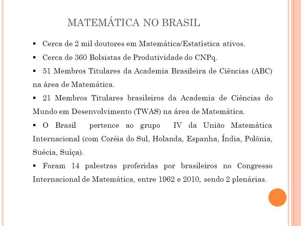  Cerca de 2 mil doutores em Matemática/Estatística ativos.  Cerca de 360 Bolsistas de Produtividade do CNPq.  51 Membros Titulares da Academia Bras