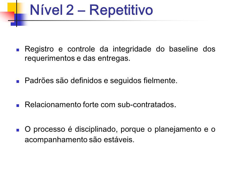 Nível 2 – Repetitivo Registro e controle da integridade do baseline dos requerimentos e das entregas. Padrões são definidos e seguidos fielmente. Rela