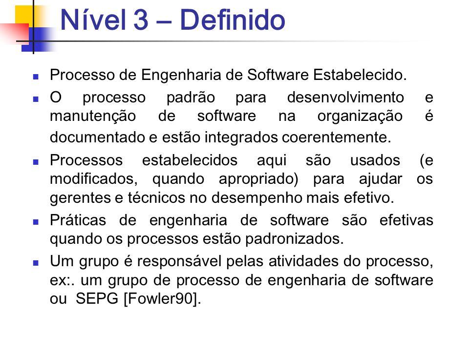 Nível 3 – Definido Processo de Engenharia de Software Estabelecido. O processo padrão para desenvolvimento e manutenção de software na organização é d