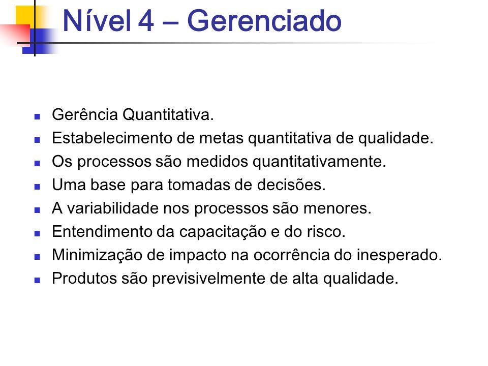 Nível 4 – Gerenciado Gerência Quantitativa. Estabelecimento de metas quantitativa de qualidade. Os processos são medidos quantitativamente. Uma base p