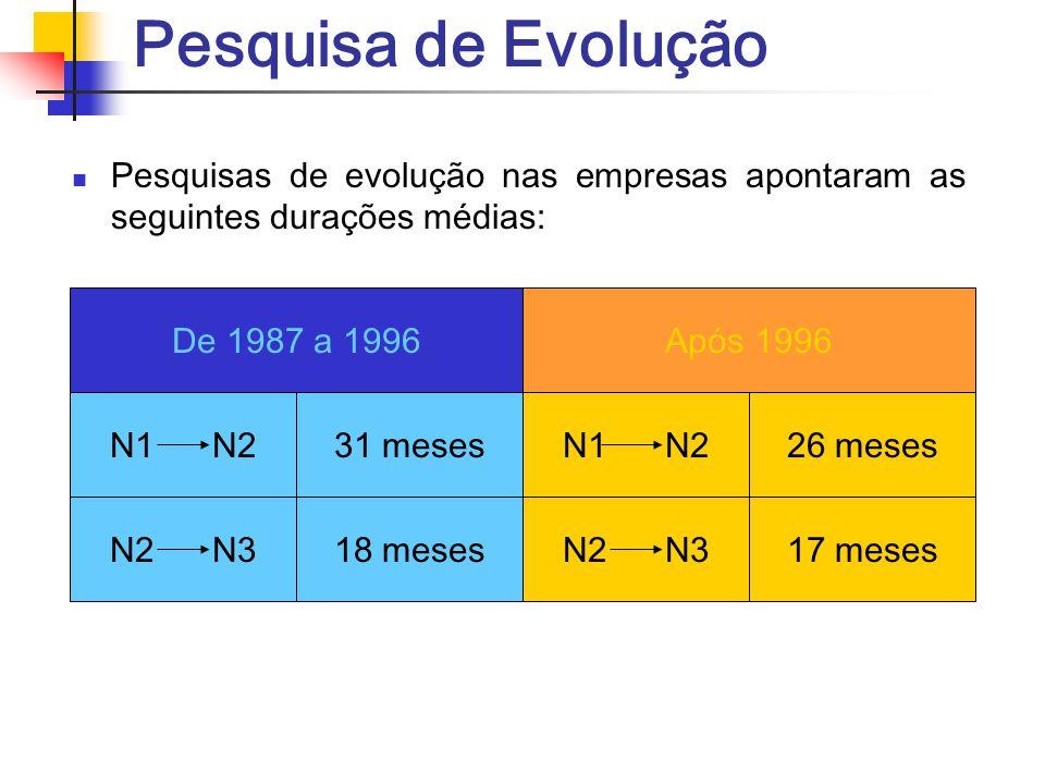 Pesquisa de Evolução Pesquisas de evolução nas empresas apontaram as seguintes durações médias: De 1987 a 1996Após 1996 31 meses26 mesesN1 N2 18 meses