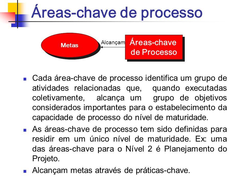 Áreas-chave de processo Cada área-chave de processo identifica um grupo de atividades relacionadas que, quando executadas coletivamente, alcança um gr