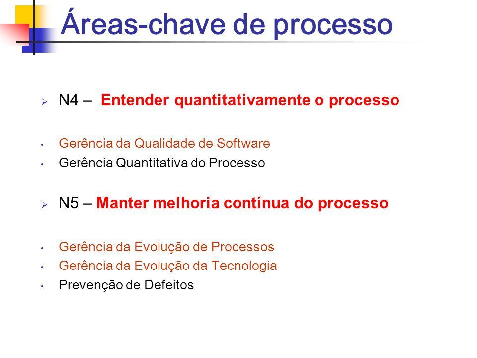 Áreas-chave de processo  N4 – Entender quantitativamente o processo Gerência da Qualidade de Software Gerência Quantitativa do Processo  N5 – Manter