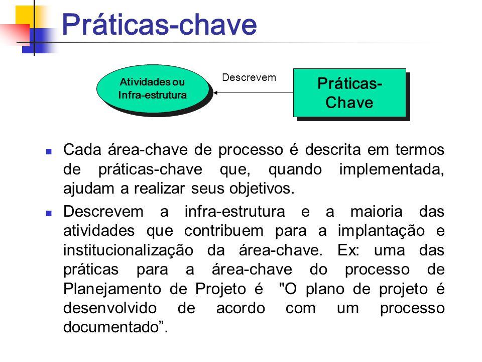 Práticas-chave Cada área-chave de processo é descrita em termos de práticas-chave que, quando implementada, ajudam a realizar seus objetivos. Descreve