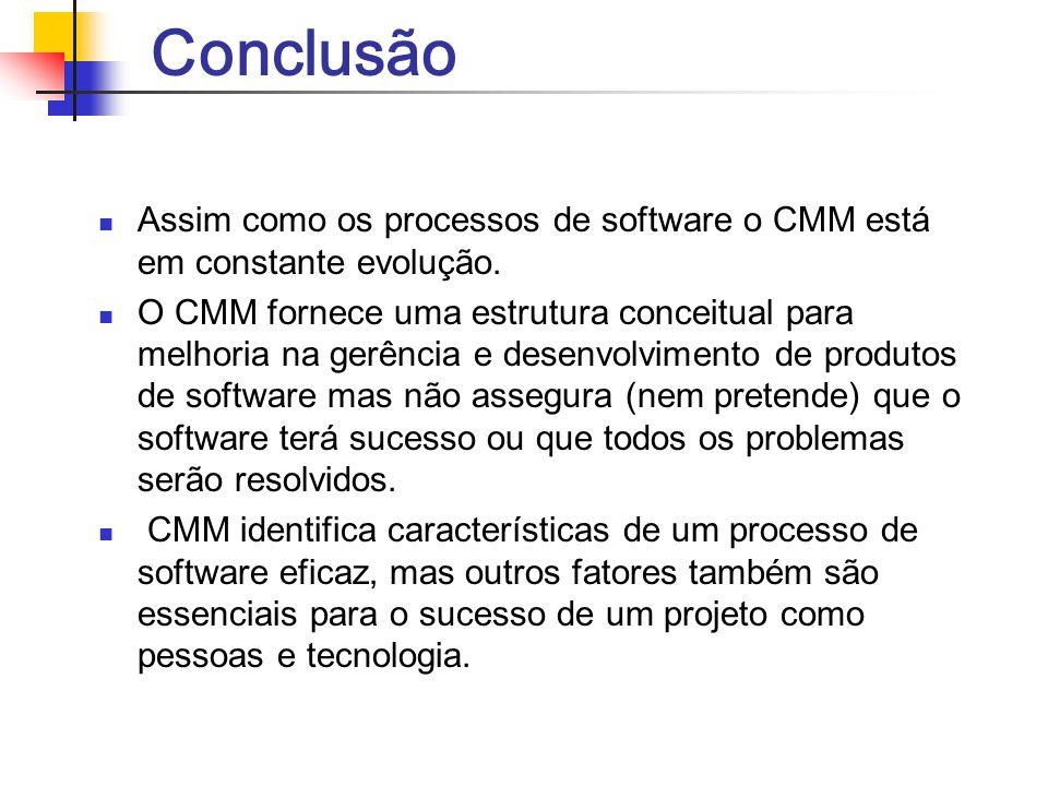 Conclusão Assim como os processos de software o CMM está em constante evolução. O CMM fornece uma estrutura conceitual para melhoria na gerência e des